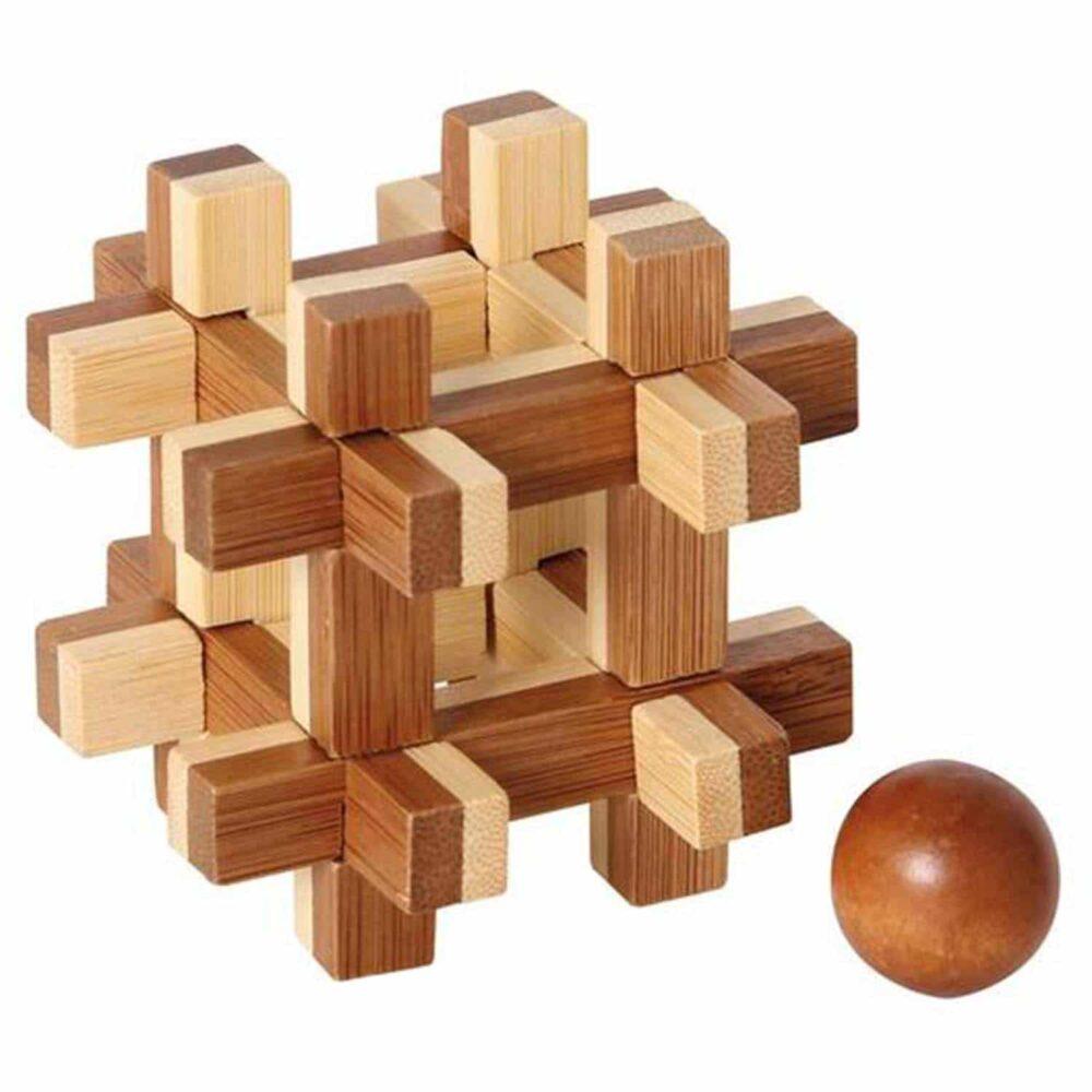 Puzzleportal Bambus Puzzle Kugel im Keafig 02